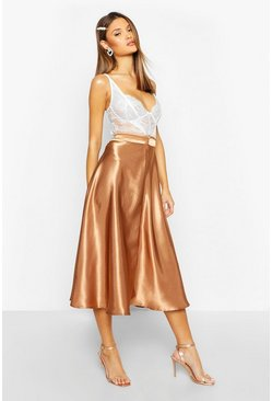 Toffee Satin Full Midi Skirt