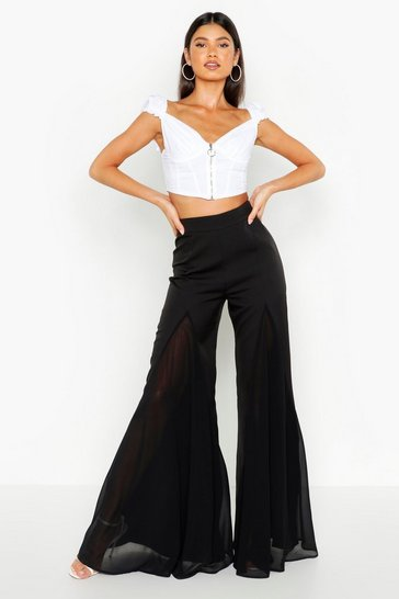 Womens Black Flared Wide Leg Trouser