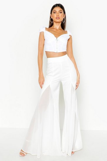 Womens Ivory Flared Wide Leg Trouser