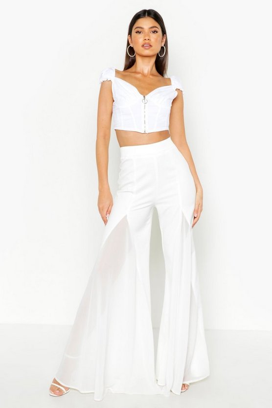 Flared Wide Leg Trouser by Boohoo