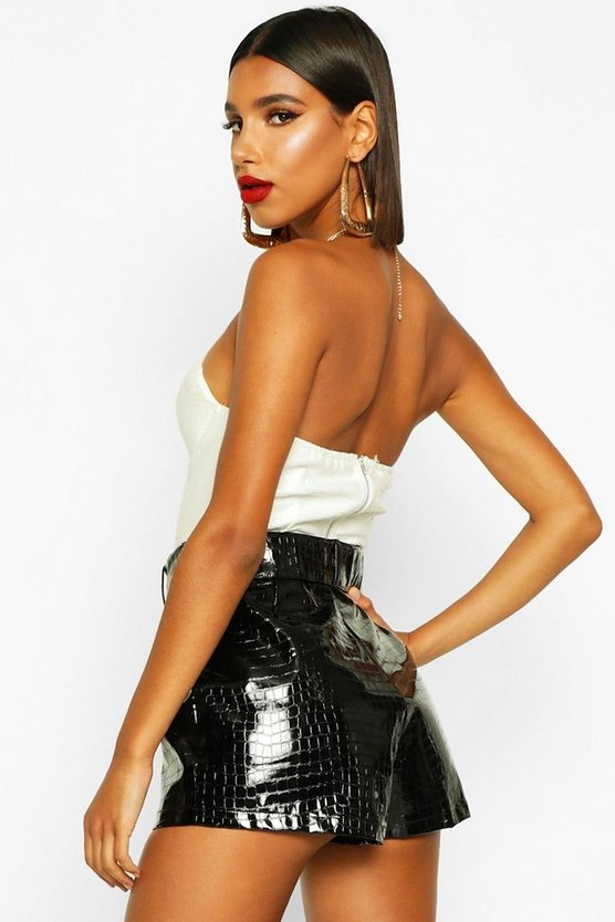 Mock Croc Leather Look Belted Shorts