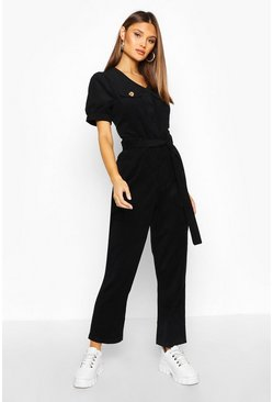 Womens Black Cord Puff Sleeve Ankle Grazer Jumpsuit