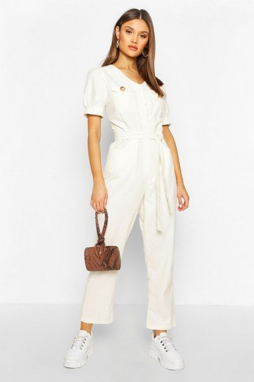 Ivory Cord Puff Sleeve Ankle Grazer Jumpsuit
