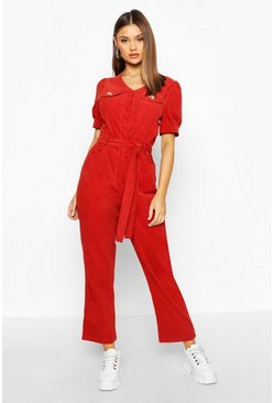 Womens Rust Cord Puff Sleeve Ankle Grazer Jumpsuit