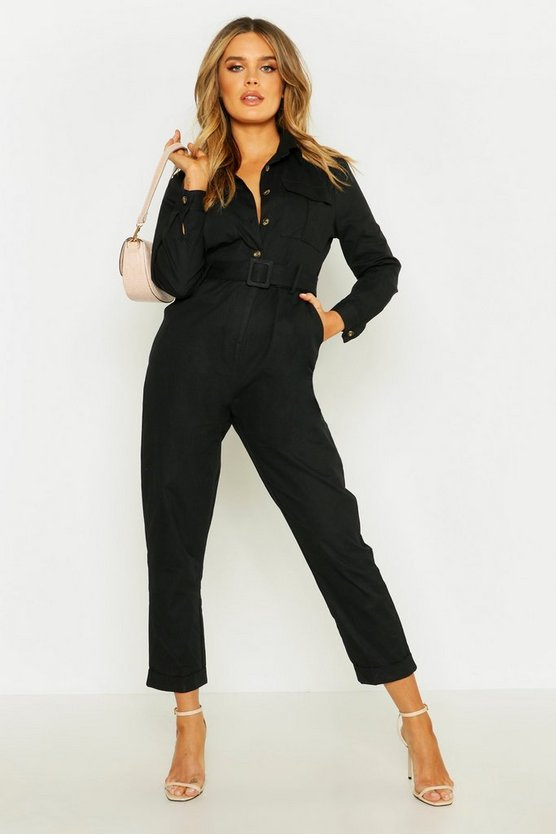 Button Front Belted Boiler Suit by Boohoo