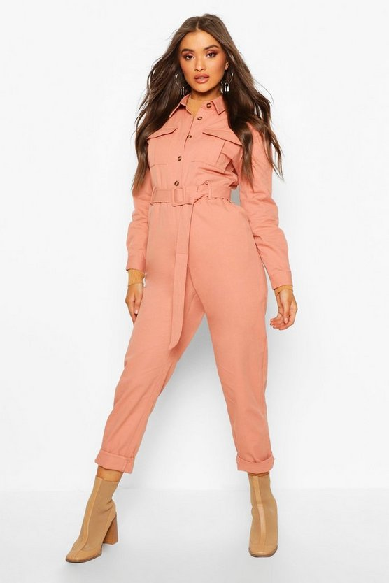 Rose Button Front Belted Boiler Suit