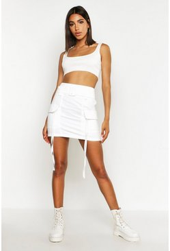 Womens Ivory Pocket Side Cargo Skirt