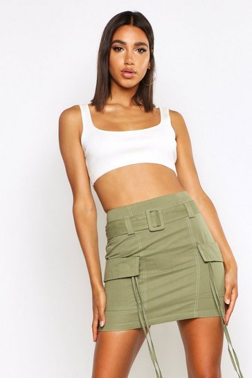Khaki Pocket Side Cargo Skirt