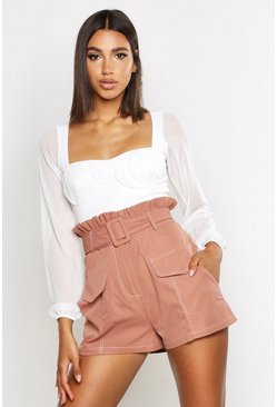 Womens Rose Contrast Stitch Belted Paperbag Waist Short