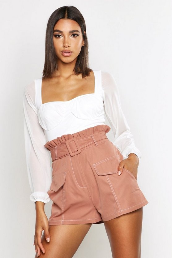 contrast-stitch-belted-paperbag-waist-short by boohoo