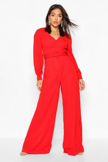 Womens Red Wide Leg Button Front Belted Jumpsuit