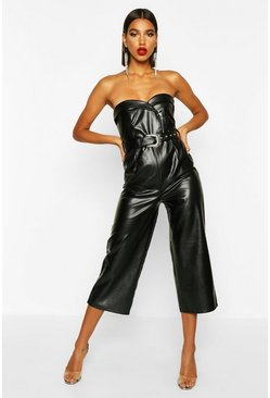 Womens Black Leather Look Belted Culotte Jumpsuit