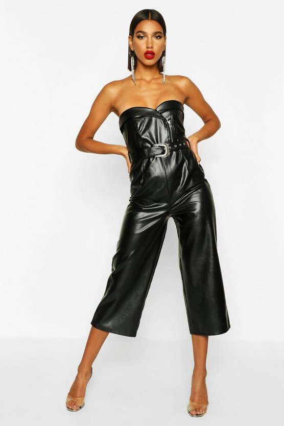 Leather Look Belted Culotte Jumpsuit by Boohoo