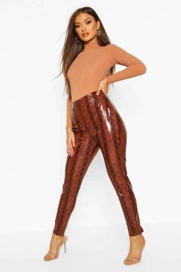 Womens Chocolate Super Stretch Vinyl Snake Skinny Trousers
