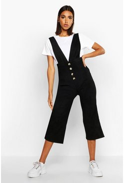 Womens Black Baby Cord Button Front Culotte Pinafore Jumpsuit