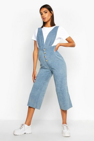 Womens Blue Baby Cord Button Front Culotte Pinafore Jumpsuit