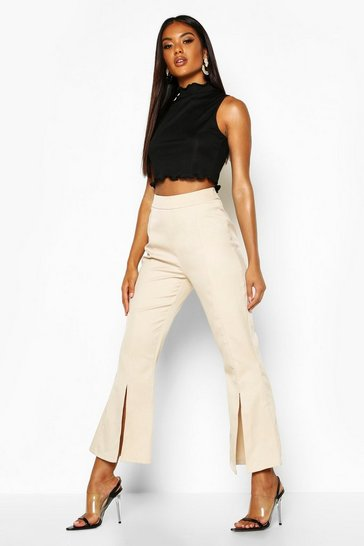 Womens Ecru Split Front Flared Trousers