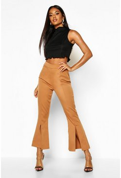 Mocha Split Front Flared Trousers