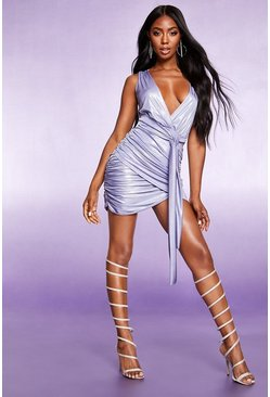 Womens Lilac Belted Metallic Bodycon Dress
