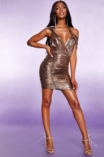 Gold All Over Ruched Halterneck Metallic Dress