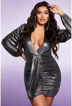 Silver Plunge Long Sleeve Ruched Metallic Dress