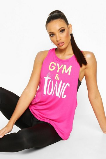 Hot pink Fit Gym & Tonic Slogan Vest
