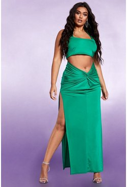 Womens Emerald Side Split Ruched Bum Maxi Skirt