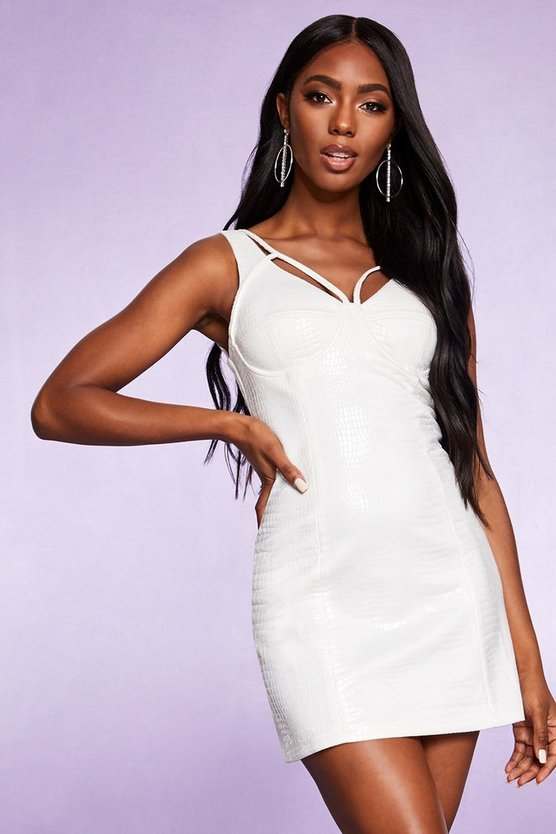 White Embossed Croc Square Neck Bodycon Dress