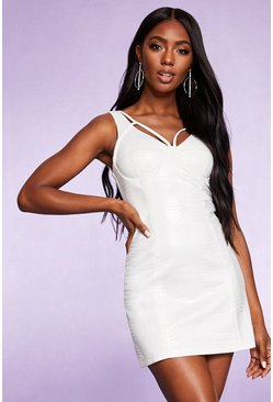 Dam White Embossed Croc Square Neck Bodycon Dress