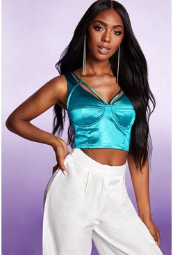 Dam Jade Stretch Satin Strappy Boned Corset Bralet