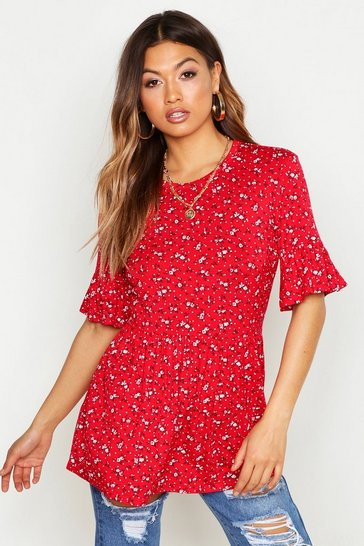 Womens Red Ditsy Print Ruffle Sleeve Tee