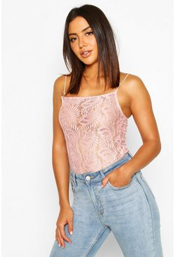 Womens Pink Lace Square Neck Bodysuit