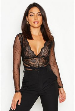 Womens Black Lace Long Sleeve Bodysuit