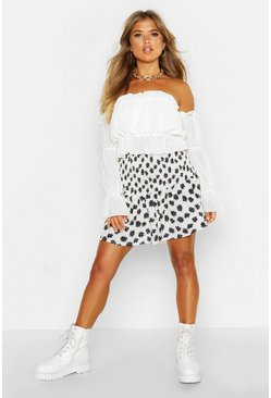 Womens Ivory Ditsy Floral Shirred Drop Hem Mini Skirt