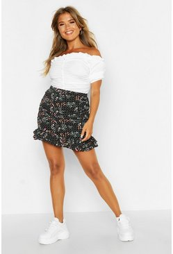 Womens Black Ditsy Floral Rouched Drop Hem Mini Skirt