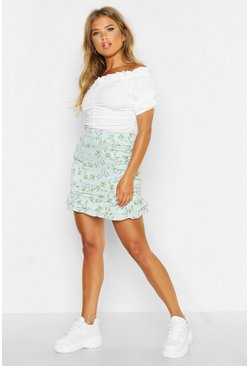 Womens Ivory Ditsy Floral Rouched Drop Hem Mini Skirt