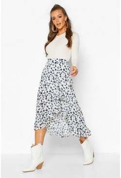 Womens Blue Ruffle Front Floral Midi Skirt