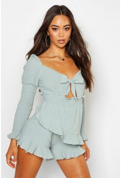 Womens Blue Shirred Ruffle Skort Playsuit