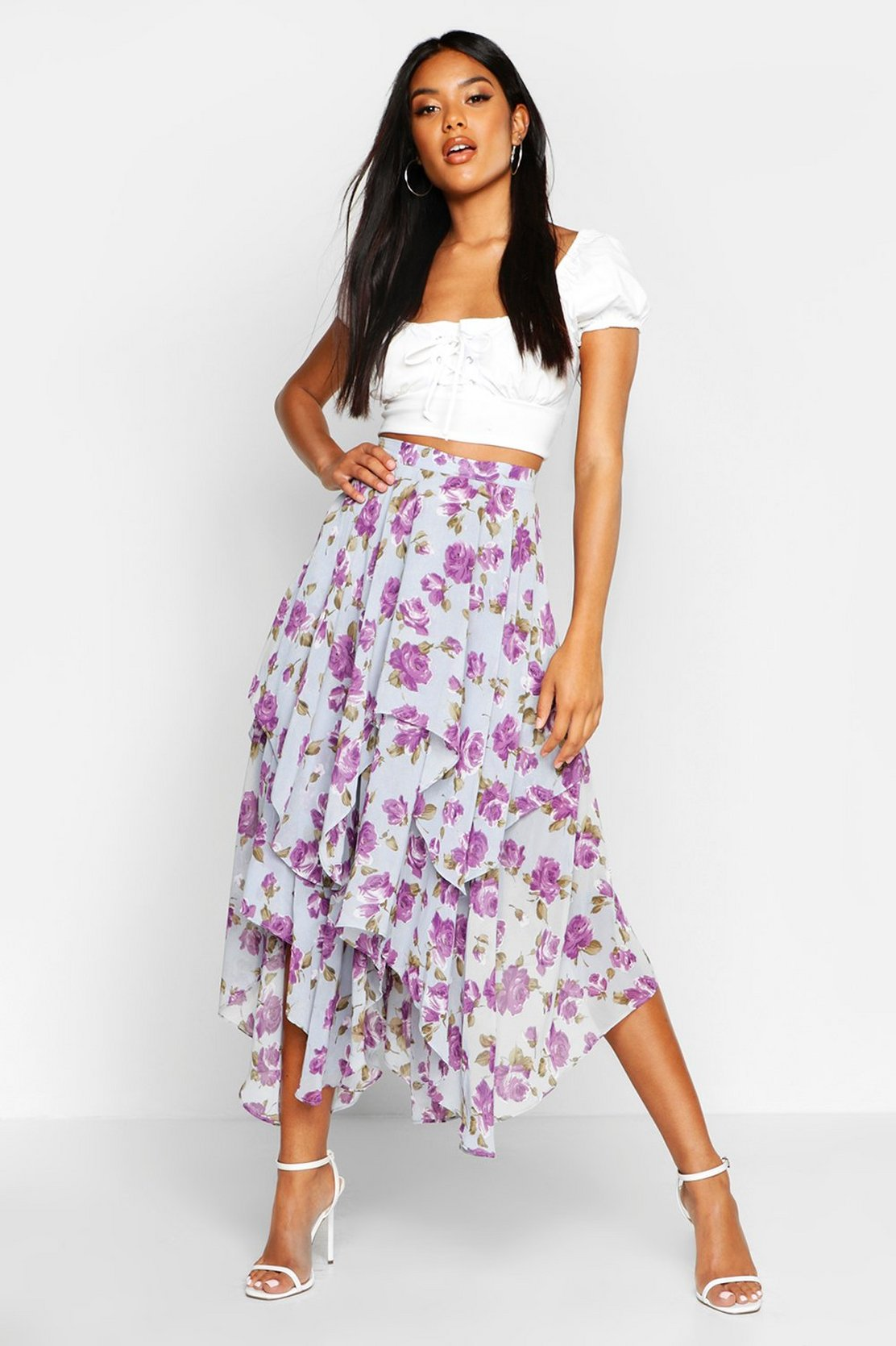 Floral High Low Hem Maxi Skirt by Boohoo