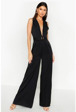 Womens Black Tailored Belted Wide Leg Jumpsuit