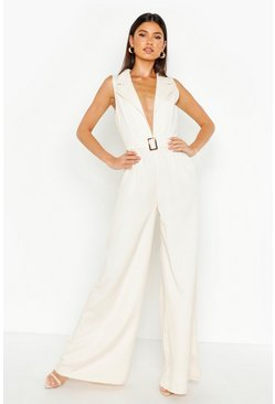 Womens Cream Tailored Belted Wide Leg Jumpsuit