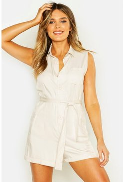 Womens Ivory Button Through Turn Up Playsuit