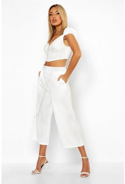 Womens Ivory Contrast Stitch Lace Up Culottes