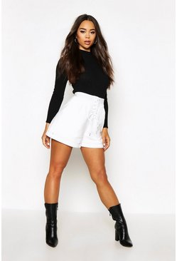 Womens Ivory Contrast Stitch Lace Up Shorts