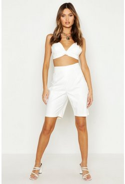 Womens White Croc Leather Look City Shorts
