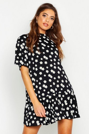 Womens Black Daisy Printed Frill Hem T-Shirt Dress