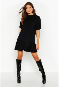 Womens Black Frill Hem T-Shirt Dress