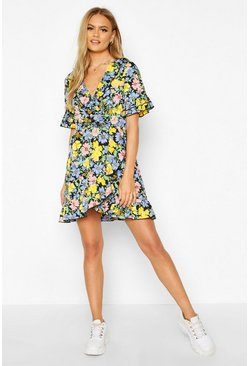 Womens Black Wrap Floral Double Ruffle Tea Dress