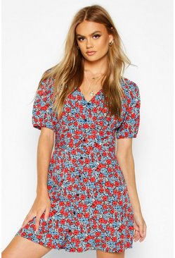 Womens Black Woven Floral V Neck Button Through Tea Dress