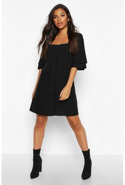 Womens Black Woven Double Frill Sleeve Shift Dress